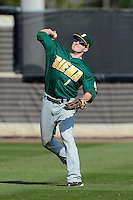 Siena Saints outfielder Mike Fish #7 during practice before a game against the Central Florida Knights at Jay Bergman Field on February 16, 2013 in Orlando, Florida.  Siena defeated UCF 7-4.  (Mike Janes/Four Seam Images)