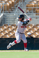 Mesa Solar Sox second baseman Esteban Quiroz (2), of the Boston Red Sox organization, at bat during an Arizona Fall League game against the Glendale Desert Dogs at Camelback Ranch on October 15, 2018 in Glendale, Arizona. Mesa defeated Glendale 8-0. (Zachary Lucy/Four Seam Images)