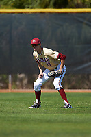 Boston College Eagles center fielder Dante Baldelli (17) during a game against the Central Michigan Chippewas on March 3, 2017 at North Charlotte Regional Park in Port Charlotte, Florida.  Boston College defeated Central Michigan 5-4.  (Mike Janes/Four Seam Images)