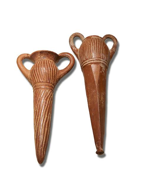 Bronze Age Anatolian terra cotta two handled beakers - 19th to 17th century BC - Kültepe Kanesh - Museum of Anatolian Civilisations, Ankara, Turkey. Against a white background.