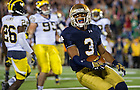 Sept. 6, 2014; Irish wide receiver Amir Carlisle smiles after scoring a touchdown during the second half against Michigan . (Photo by Barbara Johnston/ University of Notre Dame)