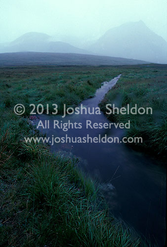 Stream through field with mountains in the background<br />