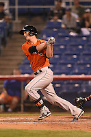 Bowie Baysox catcher Michael Ohlman (34) at bat during a game against the Binghamton Mets on August 3, 2014 at NYSEG Stadium in Binghamton, New York.  Bowie defeated Binghamton 8-2.  (Mike Janes/Four Seam Images)