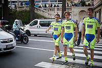 Alberto Contador (ESP/Tinkoff-Saxo) & teammates returning from the official team presentation (& dodging traffic to get to the teambus)<br /> <br /> Giro 2015 Official Team Presentation (in San Remo)