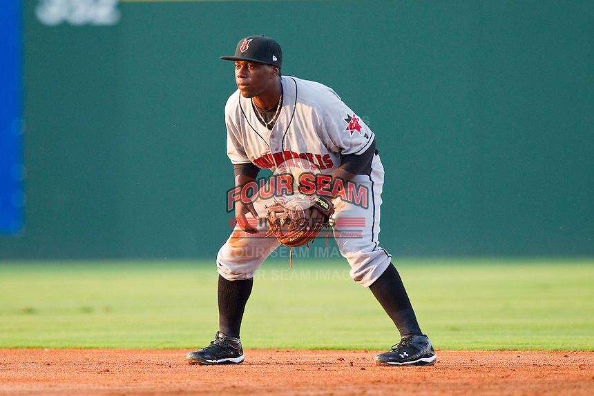 Second baseman Josh Harrison #19 of the Indianapolis Indians on defense against the Charlotte Knights at Knights Stadium on July 26, 2011 in Fort Mill, South Carolina.  The Knights defeated the Indians 5-4.   (Brian Westerholt / Four Seam Images)