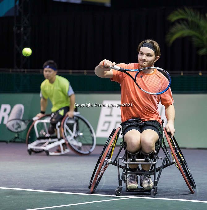 Rotterdam, The Netherlands, 5 march  2021, ABNAMRO World Tennis Tournament, Ahoy,  Quarter final wheelchair: Takashi Sanada (JPN) / Jef Vandorpe (BEL).<br /> Photo: www.tennisimages.com/henkkoster