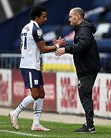 20th March 2021; Deepdale Stadium, Preston, Lancashire, England; English Football League Championship Football, Preston North End versus Luton Town; Scott Sinclair of Preston North End shakes hands with manager Alex Neill as he is substituted
