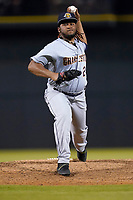 Pitcher Jose Lopez (24) of the Charleston RiverDogs in a game against the Columbia Fireflies on Tuesday, May 11, 2021, at Segra Park in Columbia, South Carolina. (Tom Priddy/Four Seam Images)