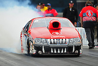 Sept. 16, 2011; Concord, NC, USA: NHRA pro stock  driver V. Gaines during qualifying for the O'Reilly Auto Parts Nationals at zMax Dragway. Mandatory Credit: Mark J. Rebilas-US PRESSWIRE