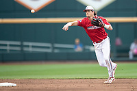 Louisville Cardinals shortstop Tyler Fitzgerald (2) makes a throw to first base during Game 7 of the NCAA College World Series against the Auburn Tigers on June 18, 2019 at TD Ameritrade Park in Omaha, Nebraska. Louisville defeated Auburn 5-3. (Andrew Woolley/Four Seam Images)