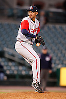 June 3, 2009:  Relief Pitcher Mariano Gomez of the Gwinnett Braves delivers a pitch during a game at Frontier Field in Rochester, NY.  The Gwinnett Braves are the International League Triple-A affiliate of the Atlanta Braves.  Photo by:  Mike Janes/Four Seam Images