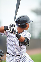 GCL Yankees East pinch hitter Malvin Del Orbe (25) at bat during the first game of a doubleheader against the GCL Yankees West on July 19, 2017 at the Yankees Minor League Complex in Tampa, Florida.  GCL Yankees West defeated the GCL Yankees East 11-2.  (Mike Janes/Four Seam Images)