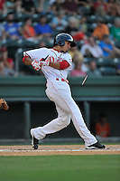 Shortstop Javier Guerra (31) of the Greenville Drive breaks his bat while hitting in a game against the Greensboro Grasshoppers on Tuesday, August 25, 2015, at Fluor Field at the West End in Greenville, South Carolina. Guerra is the No. 13 prospect of the Boston Red Sox, according to Baseball America. Greensboro won, 3-2. (Tom Priddy/Four Seam Images)