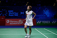 14th March 2020, Arena Birmingham, Birmingham, UK; Japans Okuhara Nozomi reacts during the womens singles semifinal match between Chinas Chen Yufei and Japans Okuhara Nozomi at All England Badminton 2020 in Birmingham