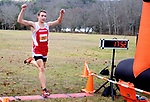 WATERTOWN CT. - 16 November 2020-111620SV05-Alex Beauchene of Northwestern finishes 1st during the Berkshire League cross country championships in Watertown Monday.<br /> Steven Valenti Republican-American