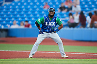 Roberto Baldoquin (10) of the Lexington Legends takes his lead off of first base against the High Point Rockers at Truist Point on June 16, 2021, in High Point, North Carolina. The Legends defeated the Rockers 2-1. (Brian Westerholt/Four Seam Images)