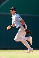 Third baseman Dustin Harris (9) of the Hickory Crawdads in a game against the Greenville Drive on Sunday, August 29, 2021, at Fluor Field at the West End in Greenville, South Carolina. (Tom Priddy/Four Seam Images)
