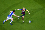 Andres Iniesta of FC Barcelona (R) in action against Aritz Elustondo of Real Sociedad (L) during the La Liga match between Barcelona and Real Sociedad at Camp Nou on May 20, 2018 in Barcelona, Spain. Photo by Vicens Gimenez / Power Sport Images