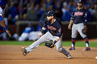 Cleveland Indians second baseman Jason Kipnis (22) waits for a throw down on a stolen base attempt in the eighth inning during Game 5 of the Major League Baseball World Series against the Chicago Cubs on October 30, 2016 at Wrigley Field in Chicago, Illinois.  (Mike Janes/Four Seam Images)