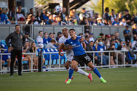SAN JOSE, CA - JUNE 26: Cristian Espinoza #10 of the San Jose Earthquakes heads the ball during a game between Los Angeles Galaxy and San Jose Earthquakes at PayPal Park on June 26, 2021 in San Jose, California.