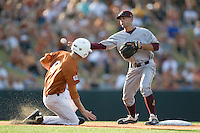 Arizona State Sun Devil shortstop Deven Marrero #17 turns a double play against the Texas Longhorns in NCAA Tournament Super Regional baseball on June 10, 2011 at Disch Falk Field in Austin, Texas. (Photo by Andrew Woolley / Four Seam Images)