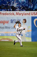 Frederick Keys right fielder Cole Billingsley (3) settles under a fly ball during the second game of a doubleheader against the Lynchburg Hillcats on June 12, 2018 at Nymeo Field at Harry Grove Stadium in Frederick, Maryland.  Frederick defeated Lynchburg 8-1.  (Mike Janes/Four Seam Images)
