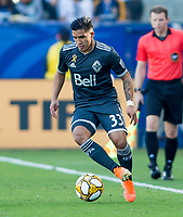 CARSON, CA - SEPTEMBER 29: Michaell Chirinos #33 of the Vancouver Whitecaps turns with the ball during a game between Vancouver Whitecaps and Los Angeles Galaxy at Dignity Health Sports Park on September 29, 2019 in Carson, California.