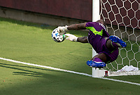 LOS ANGELES, CA - AUGUST 22: Kenneth Vermeer #1 GK of LAFC makes a diving save during a game between Los Angeles Galaxy and Los Angeles FC at Banc of California Stadium on August 22, 2020 in Los Angeles, California.