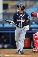 New Hampshire Fisher Cats shortstop Jonathan Diaz #3 during a game against the Reading Phillies at FirstEnergy Stadium on April 10, 2012 in Reading, Pennsylvania.  New Hampshire defeated Reading 3-2.  (Mike Janes/Four Seam Images)