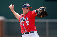 Starting pitcher David Goforth #7 of the Ole Miss Rebels in action against the St. John's Red Storm at the Charlottesville Regional of the 2010 College World Series at Davenport Field on June 6, 2010, in Charlottesville, Virginia.  The Red Storm defeated the Rebels 20-16.  Photo by Brian Westerholt / Four Seam Images