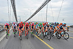 The peloton cross the Bosphorus during Stage 8 of the 2015 Presidential Tour of Turkey running 124km from Istanbul to Istanbul. 3rd May 2015.<br /> Photo: Tour of Turkey/Brian Hodes/www.newsfile.ie