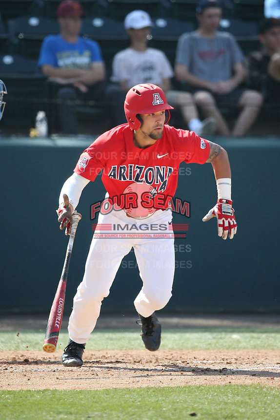 J.J. Matijevic (24) of the Arizona Wildcats bats against the UCLA Bruins at Jackie Robinson Stadium on March 19, 2017 in Los Angeles, California. UCLA defeated Arizona, 8-7. (Larry Goren/Four Seam Images)