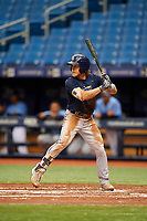 Taylor Walls (9) at bat during the Tampa Bay Rays Instructional League Intrasquad World Series game on October 3, 2018 at the Tropicana Field in St. Petersburg, Florida.  (Mike Janes/Four Seam Images)