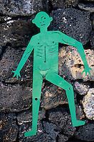 Europe/Espagne/Canaries/Lanzarote/Env de Teguise/Taro de Tahiche : Fondation César Manrique dans l'ancienne demeure de l'artiste-  sculpture de   César Manrique  sur la porte des  toilettes