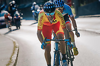 Alejandro Valverde (ESP/Movistar) leading the way in the last 2km<br /> <br /> MEN ELITE ROAD RACE<br /> Kufstein to Innsbruck: 258.5 km<br /> <br /> UCI 2018 Road World Championships<br /> Innsbruck - Tirol / Austria