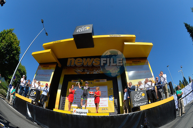 Anthony Delaplace (FRA) Bretagne-Seche wins the day's combativity prize at the end of Stage 7 of the 2015 Tour de France running 190.5km from Livarot to Fougeres, France. 10th July 2015.<br /> Photo: ASO/B.Bade/Newsfile