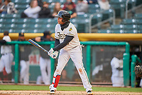 Jose Miguel Fernandez (9) of the Salt Lake Bees bats against the Sacramento River Cats at Smith's Ballpark on April 19, 2018 in Salt Lake City, Utah. Salt Lake defeated Sacramento 10-7. (Stephen Smith/Four Seam Images)