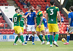 St Johnstone v Preston North End…13.07.21  McDiarmid Park<br />Shaun Rooney squares up to Patrick Bauer after he was fouled<br />Picture by Graeme Hart.<br />Copyright Perthshire Picture Agency<br />Tel: 01738 623350  Mobile: 07990 594431