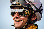 """July 26 2015: Jockey,Flavian Prat smiles after winning the Bing Crosby Stakes, a Breeders' Cup """"Win and You're In"""" race aboard Wild Dude at Del Mar Race Course in Del Mar CA. Alex Evers/ESW/CSM"""