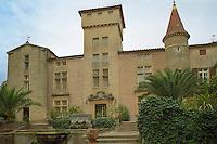 The chateau built in various styles, Domaine Saint Martin de la Garrigue, Montagnac, Coteaux du Languedoc, Languedoc-Roussillon, France