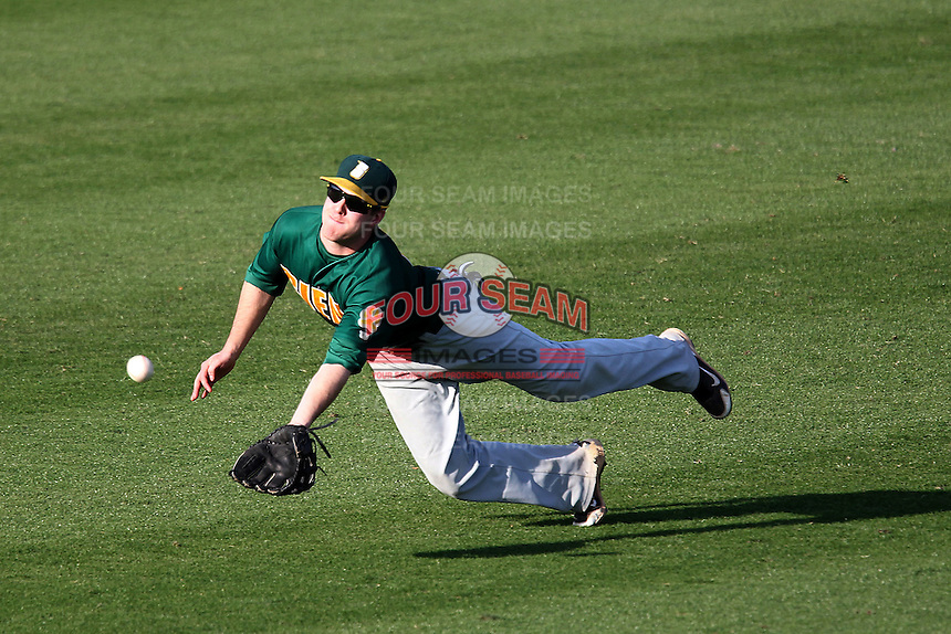 Siena Saints outfielder Mike Fish #7 attempts to make a diving catch resulting in a broken wrist during a game against the UCF Knights at the UCF Baseball Complex on March 3, 2012 in Orlando, Florida.  UCF defeated Siena 6-4.  (Mike Janes/Four Seam Images)