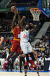 Real Madrid´s Kevin Rivers and Galatasaray´s Young during 2014-15 Euroleague Basketball match between Real Madrid and Galatasaray at Palacio de los Deportes stadium in Madrid, Spain. January 08, 2015. (ALTERPHOTOS/Luis Fernandez)