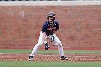 CHAPEL HILL, NC - FEBRUARY 27: Logan Michaels #12 of Virginia takes a lead off of first base during a game between Virginia and North Carolina at Boshamer Stadium on February 27, 2021 in Chapel Hill, North Carolina.