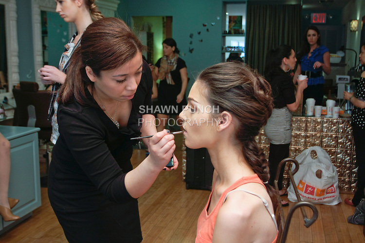"""Hair and Makeup prep at Damali NYC 574 5th Avenue, for the Sarah Jassir Spring 2013 """"La Reve: The Dream"""" collection fashion show, during Bridal Fashion Week New York."""