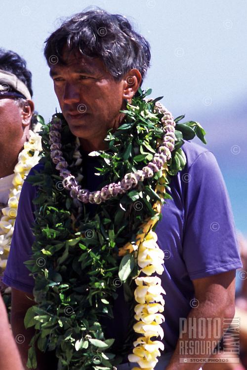 Nainoa Thompson in Kailua Beach at the arrival of Hokulea