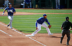 Gavin Lux runs the bases during a spring training game between the Texas Rangers and Los Angeles Dodgers in Surprise, Ariz., on Sunday, March 7, 2021.<br /> Photo by Cathleen Allison