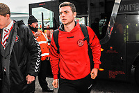 Fleetwood Town's defender Nathan Sheron (29) arriving for the Sky Bet League 1 match between Doncaster Rovers and Fleetwood Town at the Keepmoat Stadium, Doncaster, England on 6 October 2018. Photo by Stephen Buckley / PRiME Media Images.