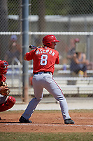 Washington Nationals Rhett Wiseman (8) at bat during a minor league Spring Training game against the St. Louis Cardinals on March 27, 2017 at the Roger Dean Stadium Complex in Jupiter, Florida.  (Mike Janes/Four Seam Images)
