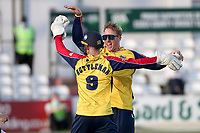 Simon Harmer of Essex celebrates taking the wicket of Liam Dawson during Essex Eagles vs Hampshire Hawks, Vitality Blast T20 Cricket at The Cloudfm County Ground on 11th June 2021