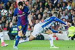 Lionel Andres Messi (L) of FC Barcelona fights for the ball with Mario Hermoso Canseco (R) of RCD Espanyol during the La Liga match between FC Barcelona vs RCD Espanyol at the Camp Nou on 09 September 2017 in Barcelona, Spain. Photo by Vicens Gimenez / Power Sport Images
